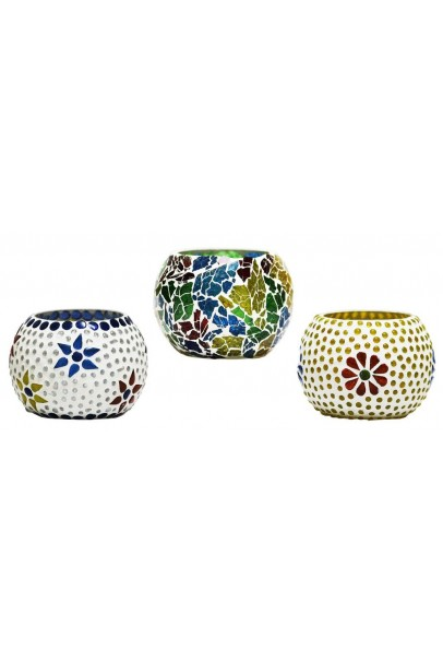Handcrafted Mosaic Glass Tea Light Holder (3*3 Inches)
